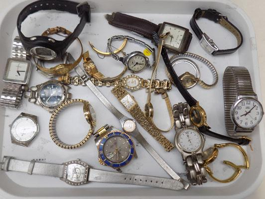 Tray of watches + watch parts