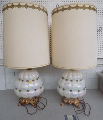 Large pair of Mother of Pearl Vaseline glass lamps-USA wiring - NEED TO BE RE-WIRED