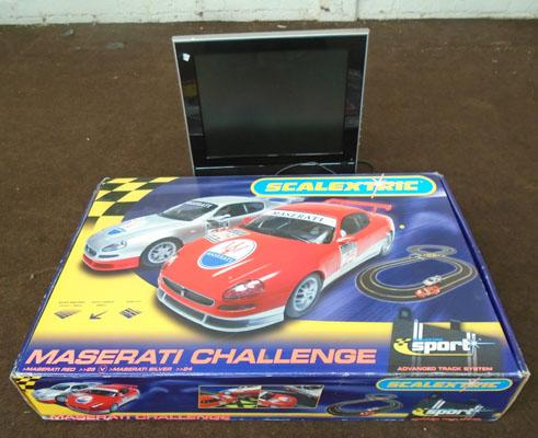 "LCD TV 15"" receiver DVD player in working order - remote in office + boxed Scalextric Maserati challenge in working order"