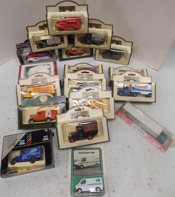 Box of boxed diecast cars