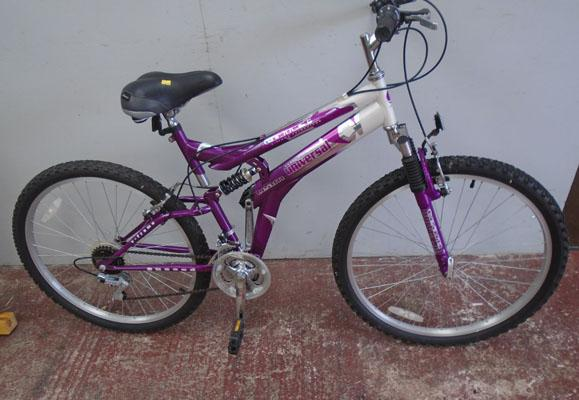 "Universal Comet pink/white 26"" full suspension 15 gears bike"