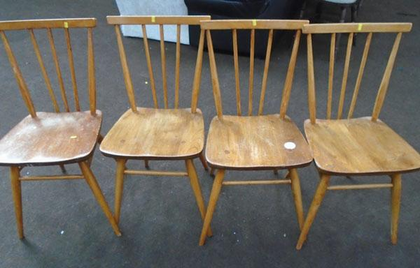 Set of 4 Ercol spindle back beech chairs