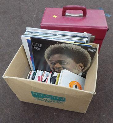 Box of mixed LPs/singles/red case
