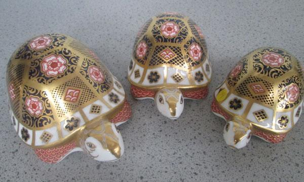 Royal Crown Derby Tortoise family - all numbered x 3