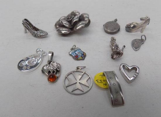 Large selection of silver pendants