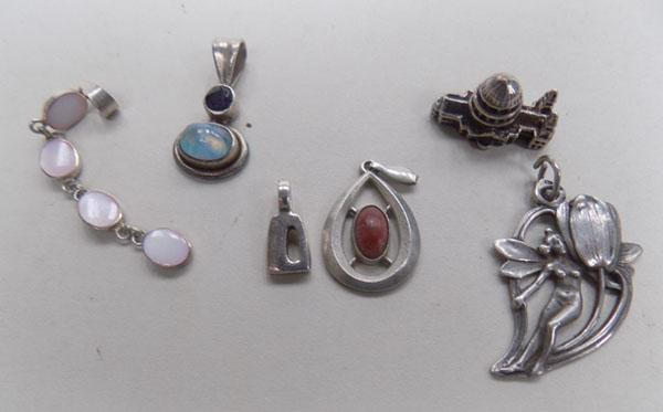Assortment of silver pendants