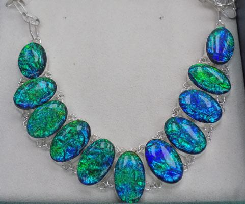 Heavy silver bluey green faux opal necklace