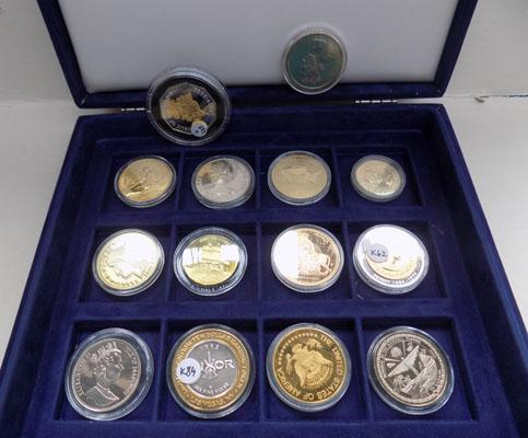 Collection of coins in coin case