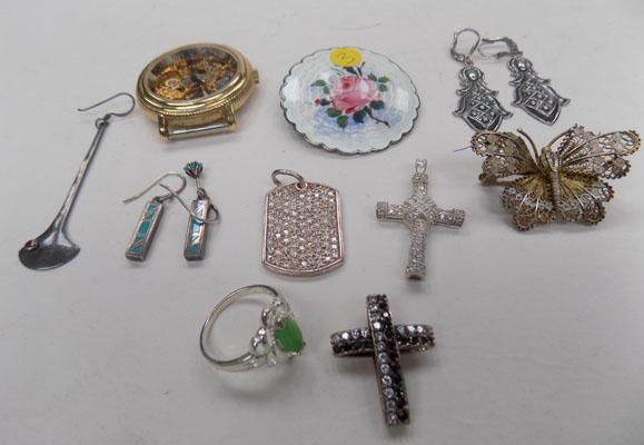 Selection items including earrings/brooches/ring etc.