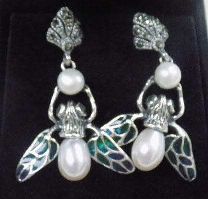 Pair of art nouveau silver pearl + marcasite earrings