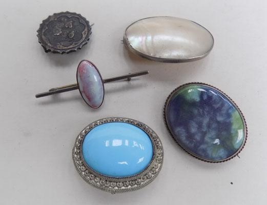 Selection of silver brooches