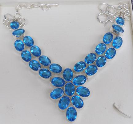 Heavy silver & blue topaz necklace
