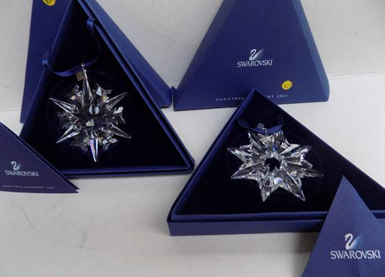 2 Swarovski Christmas ornaments
