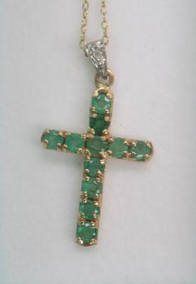 9ct gold chain with gold & emerald cross