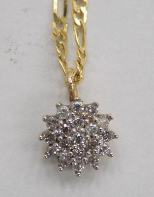 9ct gold chain with 9ct gold diamond cluster pendant