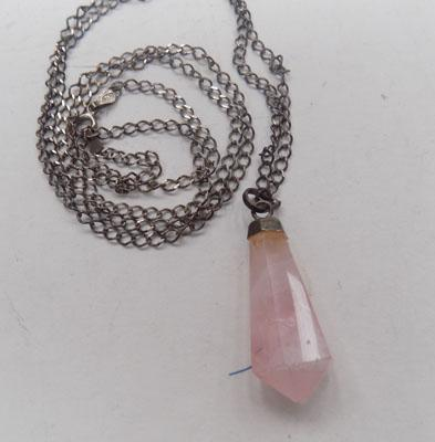 Rose Quartz pendant on silver chain