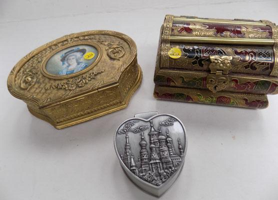 3 ornate trinket boxes