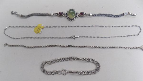 Collection of silver bracelets