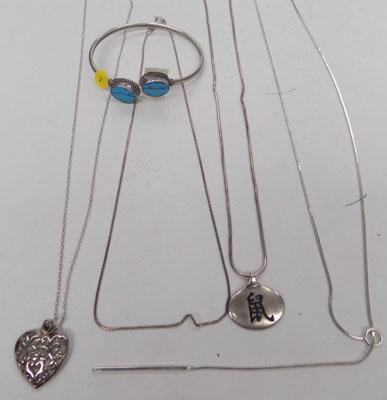 Selection of silver necklaces + bracelet
