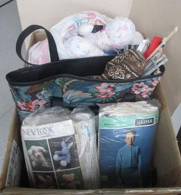 Box of needlework items + accessories