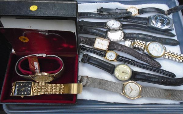 Boxed new longines watch, plus tray of watches; Accurist, Lorus etc.