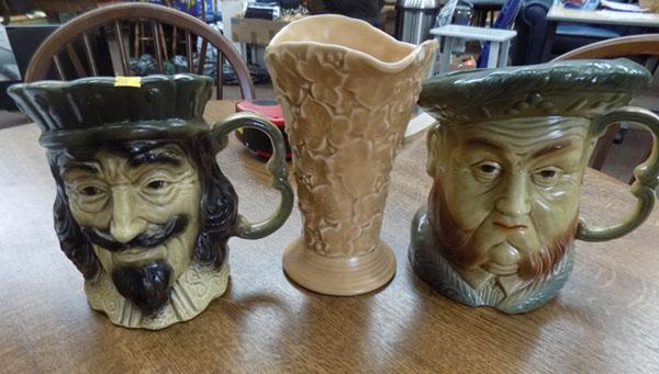 2 character jugs and Sylvac jug