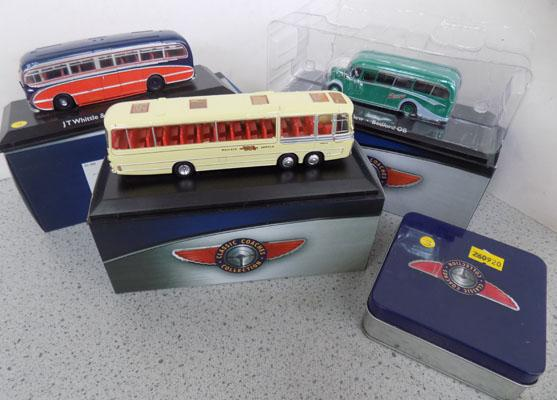 3 boxed classic coaches + set of coasters