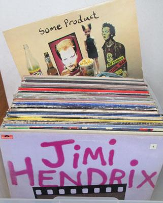 Large box of LP's inc Bowie, Hendrix and Pistols