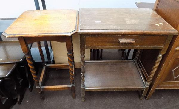2 barley twist leg tables