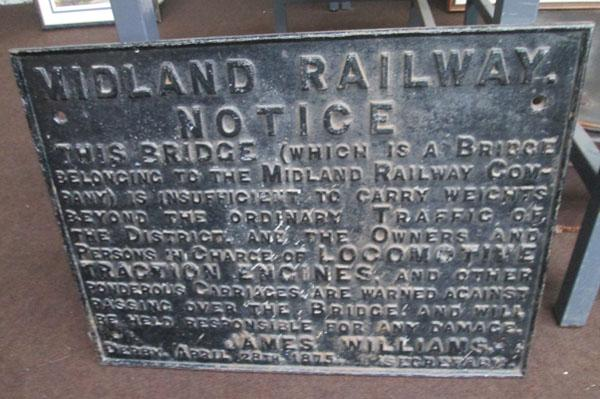 Cast iron Midland railway bridge notice dated Derby 28 April 1875