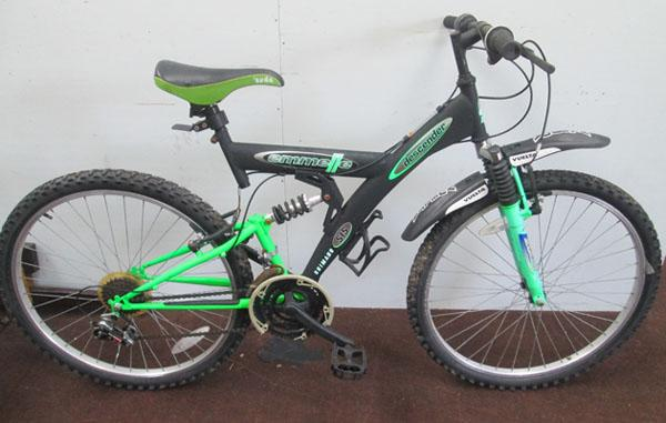 "Emmelle Descender black/green 26"" full suspension 18 gears bike"