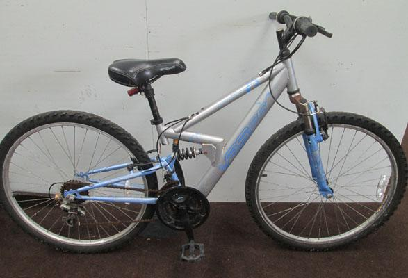 "Apollo FS26 ladies silver/lilac 26"" full suspension 18 gears bike"