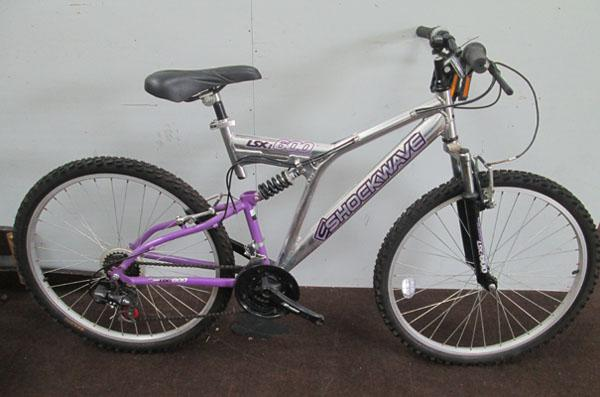"Shockwave LSX600 ladies silver/pink 26"" full suspension 21 gears bike"