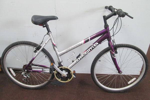 "Optima Stealth Ladies silver/purple 26"" rigid 18 gears bike"