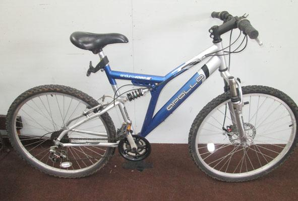 "Apollo Enduro 4000 blue silver 26"" full suspension 21 gears bike"