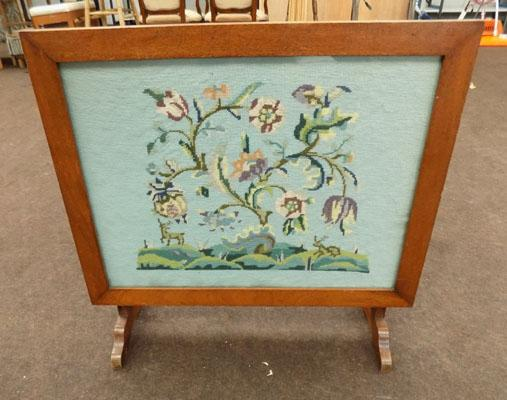 Oak fire screen/occasional table
