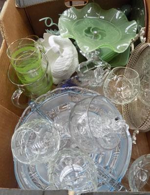 Large box of mixed glass