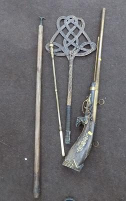 Selection of vintage items inc poker and beater