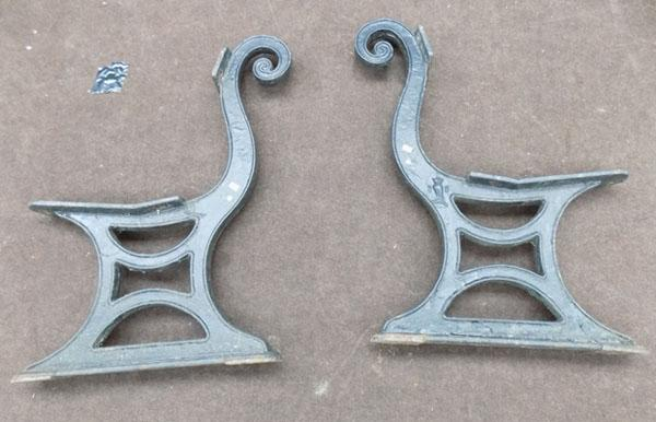 Pair of heavy cast bench ends