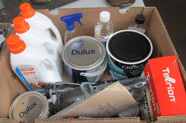 Box of paints/tools/carpet cleaner etc.