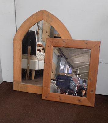2 pine framed mirrors