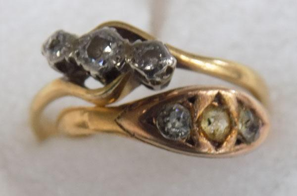 9ct gold trilogy ring and other