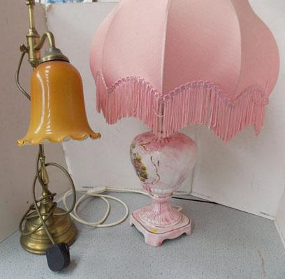 Pink ceramic lamp & vintage style angle poise lamp
