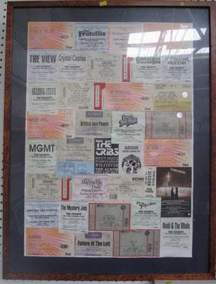 Framed collection of concert tickets