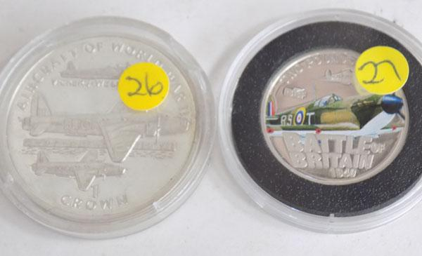 1995 Silver Aircraft of WWII Crown + 2010 Battle of Britain £2 coin