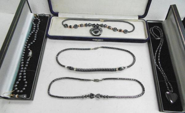 Collection of Hematite jewellery, necklaces & ear rings