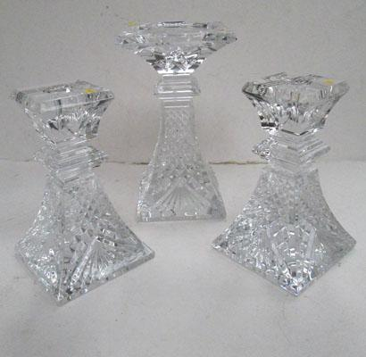 Trio of crystal candlesticks