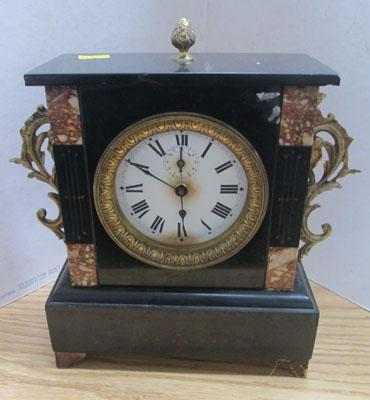 French 1900's slate & marble alarm clock