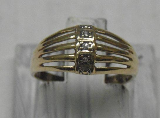 9ct Gold & diamond domed ring
