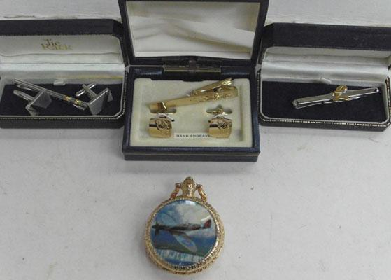 Selection of gents cufflinks, tie clips & Spitfire watch